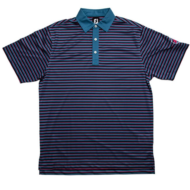 FJ Super Stretch Pique Multi Stripe w/ Self Collar - Slate + Navy/Island Pink