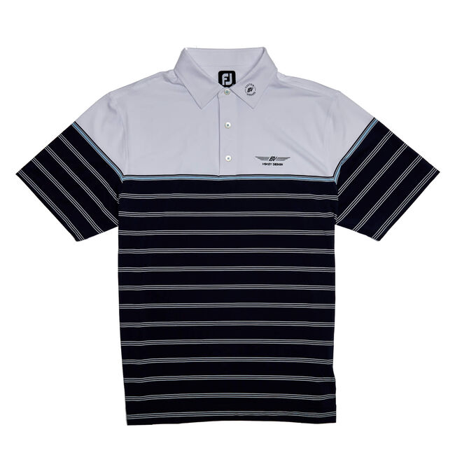 FJ Lisle Colorblock Stripe w/ Self Collar - Navy/White/Sky