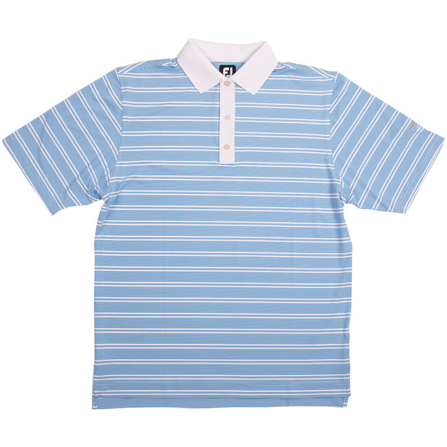 FJ Lisle Stripe Set On Placket - Brilliant Blue + White