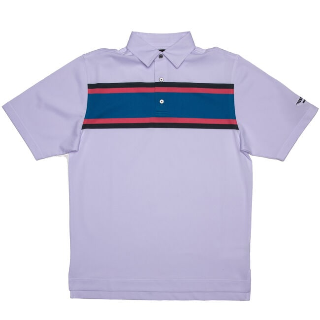 FJ Pique Multi Color Chest Stripe w/ Self Collar - White + Charcoal/Azalea Pink/Sapphire Blue
