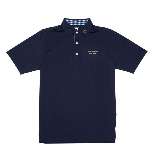 FJ Lisle Solid w/ Gingham Trim - Athletic Fit - Navy