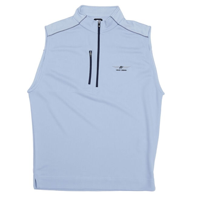 FJ Quarter-Zip Heather Blocked Vest - Blue Fog