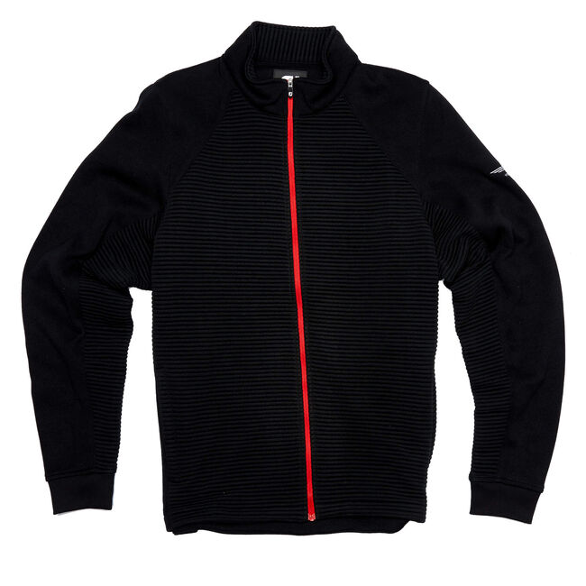 FJ Ribbed Sweater Fleece Jacket - Black w/ Red Accents