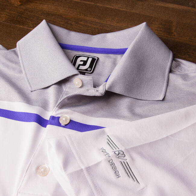 FJ Color Block Chest Stripe Athletic Fit - White + Heather Grey/Violet