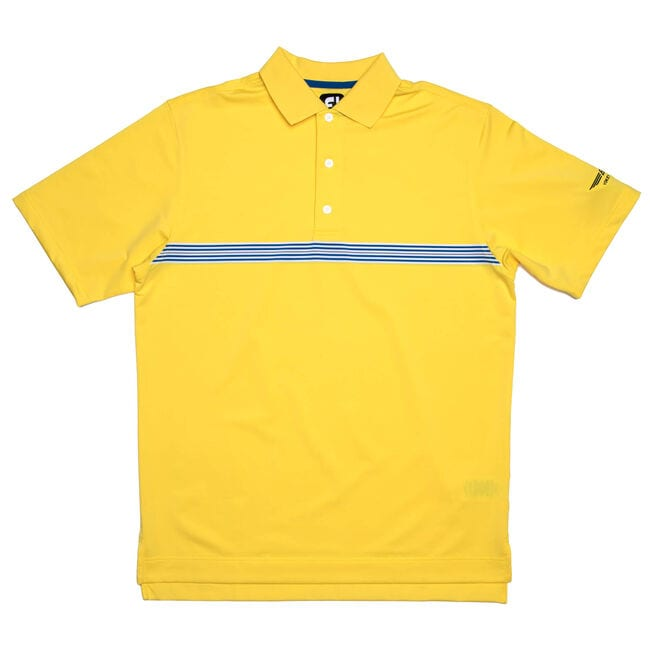 FJ Lisle Multi Stripe Chestband w/ Knit Collar - Bright Yellow
