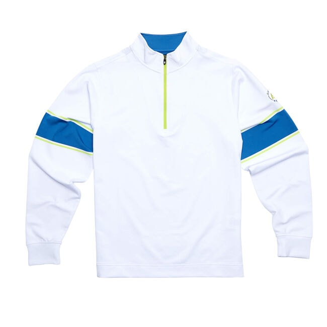 FJ Performance Half Zip + Engineered Sleeve - White/Blue Marlin/Citrus