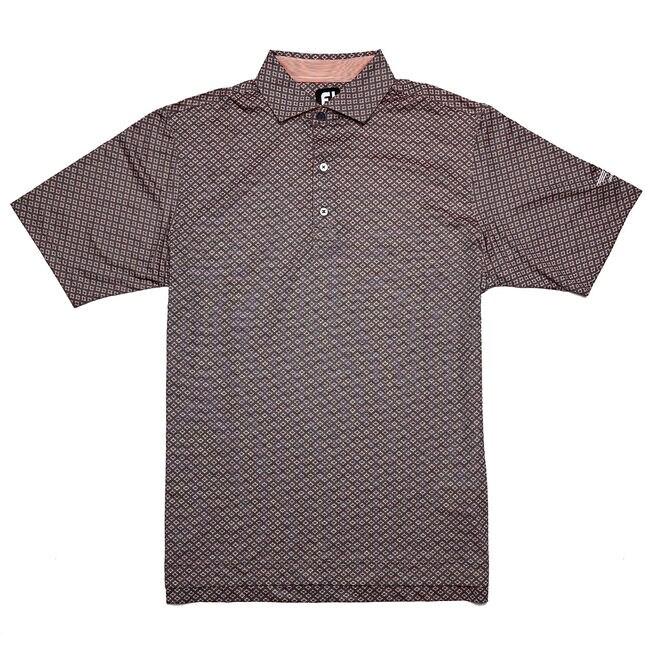 FJ Lisle Ogee Print w/ Spread Collar - Slate/White/Coral
