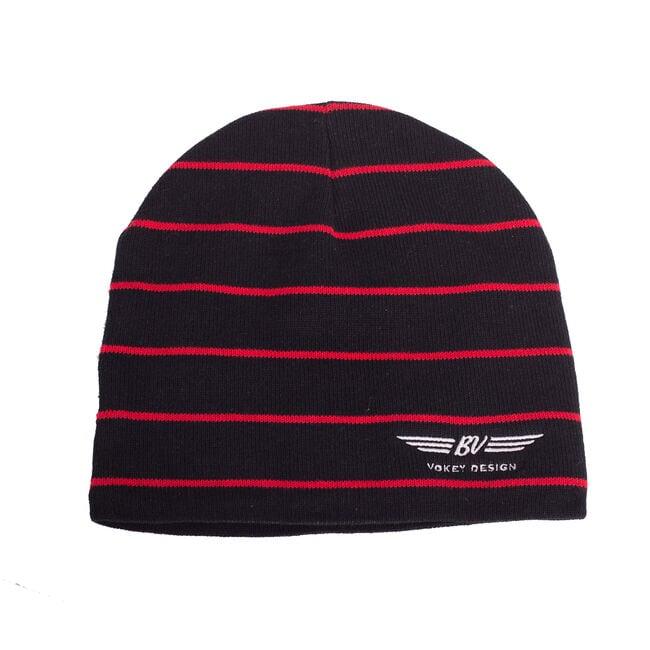BV Wings Striped Beanie Cap - Black + Red Stripes