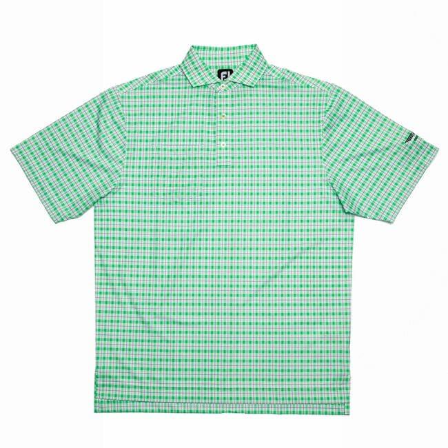 FJ Lisle Plaid Print w/ Self Collar - White + Green/Navy
