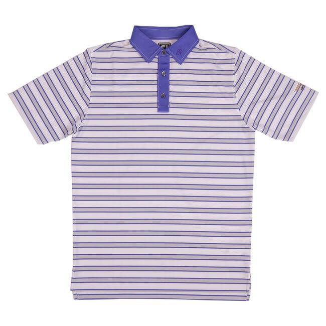 FJ Stretch Lisle Multi-Stripe w/ Self Collar - Athletic Fit - White + Grey/Purple