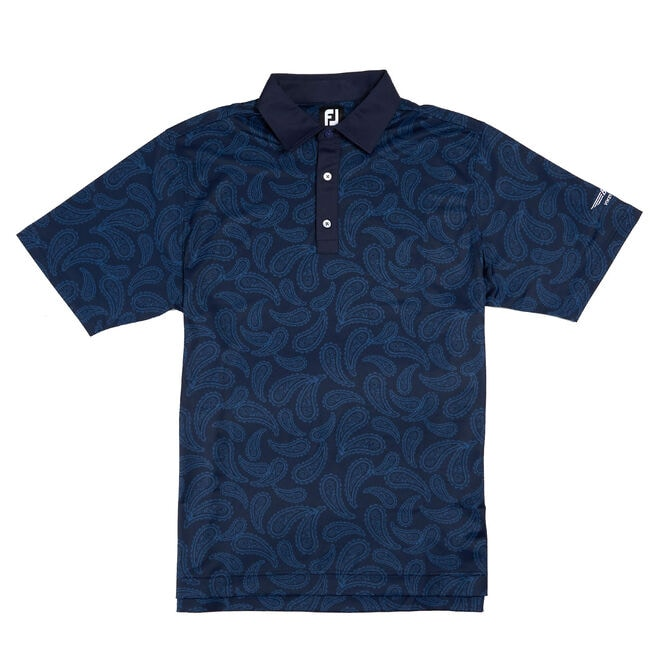 FJ Pique Tonal Paisley w/ Self Collar - Navy