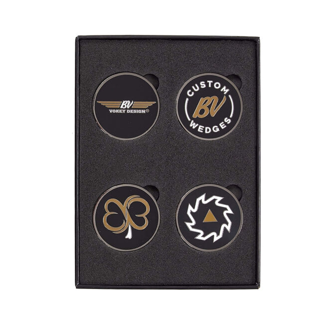 Vokey 4-pc Ball Marker Kit - Black + White/Gold