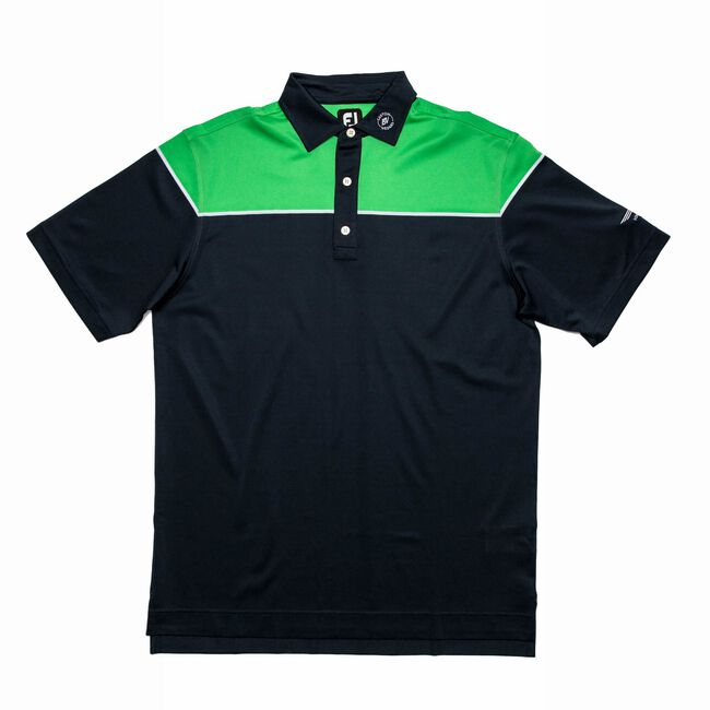FJ Color Block Pique w/ Self Collar - Navy + White/Green