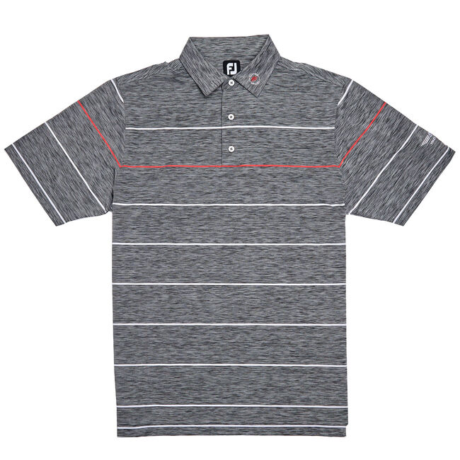 FJ Lisle Space Dye Engineered Stripe - Black/White/Geranium Red