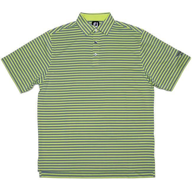 FJ Lisle Multi Stripe w/ Self Collar - Green Apple + Midnight Blue/White